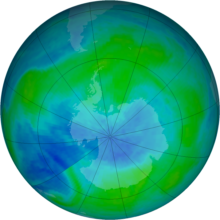 Antarctic ozone map for 03 March 2003